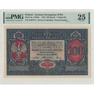 100 marek 1916 Jenerał - 6 cyfr - PMG 25