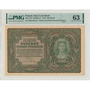 500 marek 1919 - I Serja BG - PMG 63