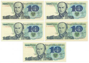 Zestaw, 10 złotych 1982 (5 szt.)