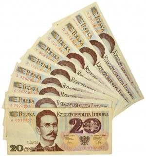 Zestaw banknotów PRL, 20 złotych 1982 (10 szt.)