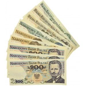 Zestaw banknotów PRL 200 - 5.000 złotych (9 szt.) - lepsze serie