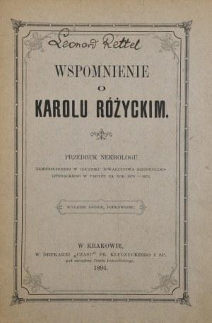 Rettel Leonard - Wspomnienie o Karolu Różyckim.