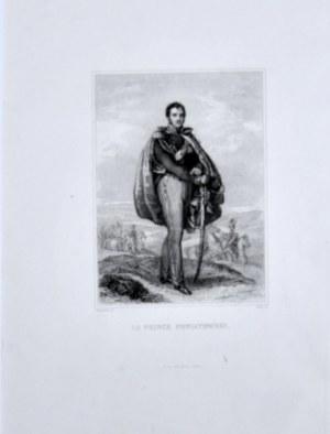Poniatowski książę Józef - Portret w całej postaci, z prawą ręką wspartą na szabli, w tle krajobraz z polskimi ułanami, staloryt