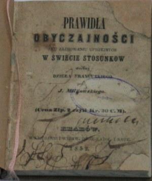 Miłkowski J[ulian Karol Franciszek] - Prawidła obyczajności ku zachowaniu uprzejmych w świecie stosunków