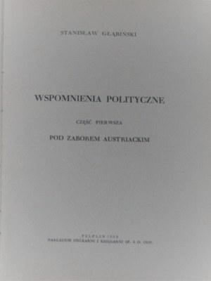 Głąbiński Stanisław - Wspomnienia polityczne.