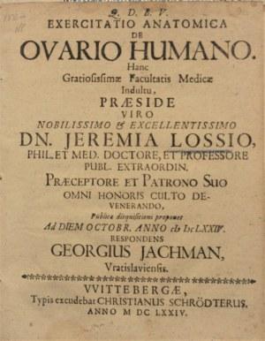 Jachmann Georg - Exercitatio anatomica de ovario humano.