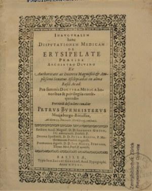 Burmeister Peter - Inauguralem hanc Disputationem Medicam De Erysipelate..