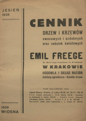 Cennik drzew i krzewów owocowych i ozdobnych oraz cebulek kwiatowych Emil Freege w Krakowie.
