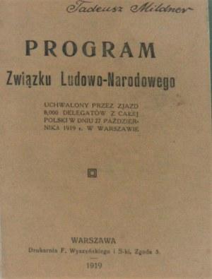 Program Związku Ludowo-Narodowego. Warszawa 1919.