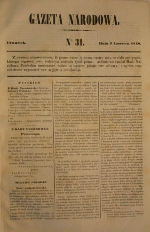 Rada Narodowa (1-30) Gazeta Narodowa (31-53) 1848