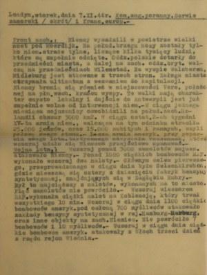 Komunikat, 7 XI 1944 r., Londyn