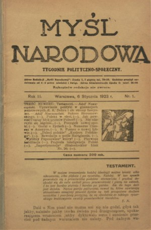 Myśl Narodowa, 1923, nr 1-52
