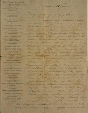 Merzbach Henryk - List z wierszem, 1868 r.