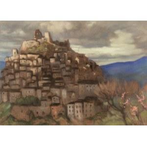 Kazimierz STABROWSKI (1869 - 1929), miasteczko Rocca Imperiale o zmierzchu
