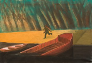 Jarosław MODZELEWSKI (ur. 1955), Uciekaj, barka i łódź, 2004