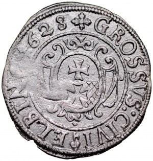 Gustaw II Adolf 1626-1632, Grosz 1628, Elbląg. RRR