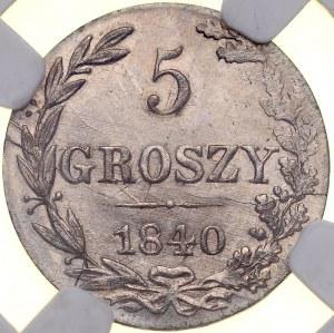 Zabór Rosyjski, Mikołaj I 1826-1855, 5 groszy 1840 MW, Warszawa.