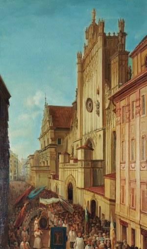 Jan Seidlitz (1832-1861), Procesja - Przed katedrą św. Jana w Warszawie [Ulica Świętojańska podczas procesji Bożego Ciała], 1861