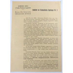 Komunikat Komendy Koła I Pułku Piechoty Legjonów 1936 r.