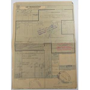 Kolejowy list przewozowy przesyłki zwyczajnej 1938