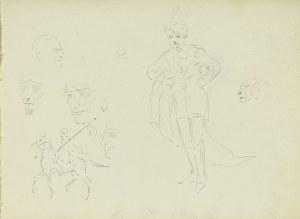 Karol Kossak (1896-1975), Postać mężczyzny w orientalnym stroju, szkice jeźdźca orientalnego na koniu, twarzy mężczyzn, głowy tygrysa, 1922