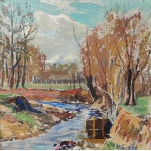 Franciszek WÓJCIK (1903-1984), Pejzaż podgórski z potokiem, 1960