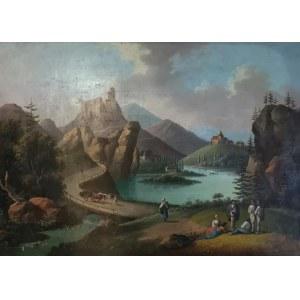 Alfred SCHOUPPE (1812-1899) - przypisywany, Widok na ruiny zamku w Czorsztynie