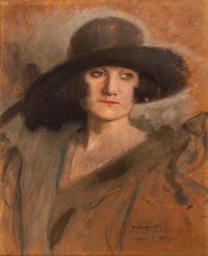 Alfons Karpiński (1875 Rozwadów - 1961 Kraków), Portret damy w kapeluszu, 1924 r.