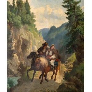 Józef Jaroszyński (1835 Lwów – 1900 Monachium), Huculi - na przełęczy