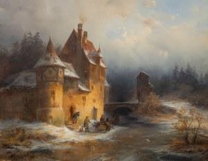 Francois Stroobant (1819 Bruksela - 1916 Bruksela), Zimowy pejzaż z zamkiem