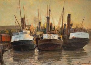 Henryk Baranowski (1932 Starogard Gdański - 2005 Gdynia), W starym porcie/Trawlery, 1980 r.