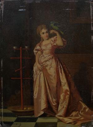 Władysław Bakałowicz (1833-1903), Kobieta z papugą