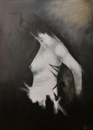 Karolina Dadura, Figure01, 2020 r., akryl na płótnie, 130 x 90cm, sygn.p.d