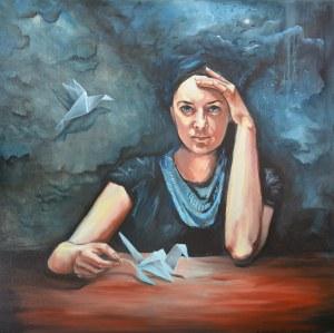 Katarzyna Bruniewska-Gierczak , Skrzydło, 2019r., olej na płótnie, 80 x80 cm, sygn na odwrociu