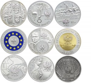 Zestaw monet, 10 złotych 2004 (9 szt.)