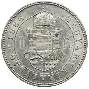 Węgry, Franciszek Józef I, 1 forint 1886 KB, Kremnica