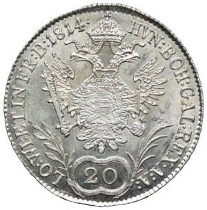 Austria, Franciszek II, 20 krajcarów 1814, Wiedeń