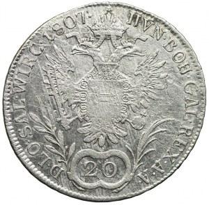 Austria, Franciszek II, 20 krajcarów 1807, Wiedeń