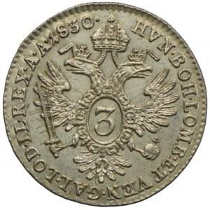 Austria, Franciszek II, 3 krajcary 1830, Wiedeń