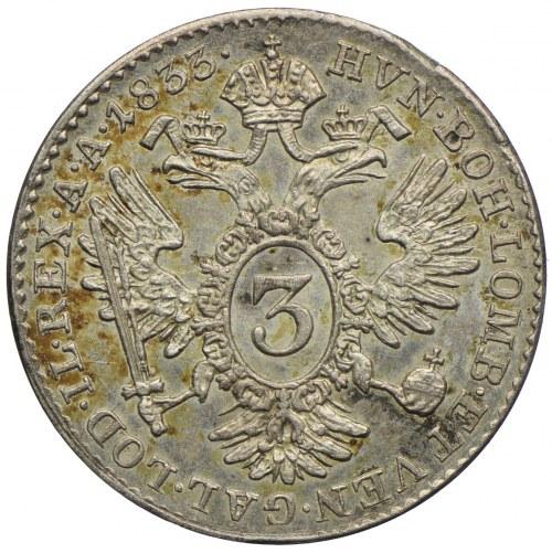 Austria, Franciszek II, 3 krajcary 1833, Praga