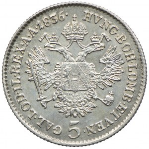 Austria, Ferdynand I, 5 krajcarów 1836, Wiedeń