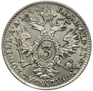 Austria, Ferdynand I, 3 krajcary 1840, Wiedeń