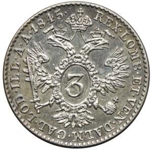 Austria, Ferdynand I, 3 krajcary 1845, Wiedeń