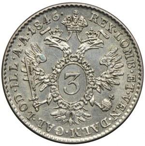 Austria, Ferdynand I, 3 krajcary 1846, Wiedeń