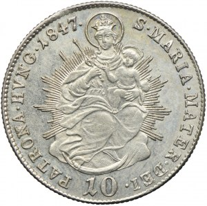 Węgry, Ferdynand I, 10 krajcarów 1847, Kremnica