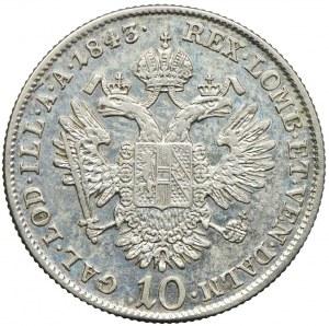 Austria, Ferdynand I, 10 krajcarów 1843, Wiedeń