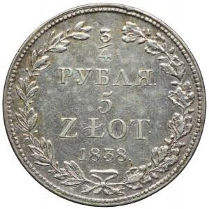 Polska, Zabór rosyjski, Mikołaj I, 3/4 rubla=5 złotych 1838 MW, Warszawa