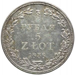 Polska, Mikołaj I, 3/4 rubla=5 złotych 1838 MW, Warszawa
