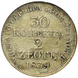 Zabór rosyjski, Mikołaj I, 30 kopiejek=2 złote 1839 MW, Warszawa