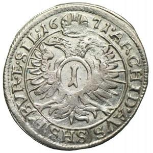 Śląsk pod panowaniem habsburskim, Leopold I, 1 krajcar 1671 SHS, Wrocław